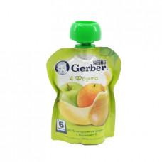 Пюре Gerber 4 фрукта 6+, 90г