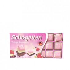 Schogetten Белый шоколад со вкусом клубники, белый шоколад, альпийский молочный шоколад, 100 г
