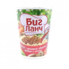 Лапша Биг Ланч говядина, грибы, зелень и соус, 65 гр стакан