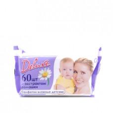 Влажные салфетки Deluxe детские с экстрактом ромашки, 60шт.