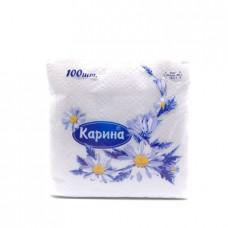 Бумажные салфетки Карина белые, 100шт