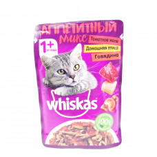 Корм Whiskas Аппетитный Микс говядина/домашняя птица, 85 гр