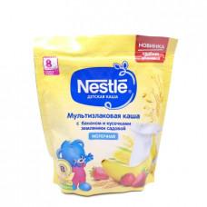 Каша Nestle мультизлаковая с бананом и кусочками земляники садовой молочная, 220г