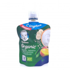 Пюре Gerber Organic банан, манго с йогуртом и злаками 8+, 90гр