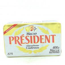 Масло President кислосливочное несоленое 82%, 400г