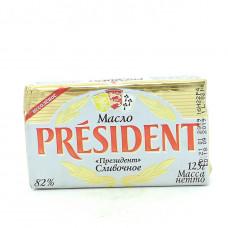 Масло President кислосливочное несоленое 82%, 125г
