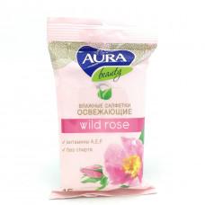 Влажные салфетки AURA beauty wild rose, 15шт.