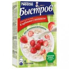 Каша Быстров овсяная Клубника с молоком Без варки, 240 гр (40 гр*6шт)