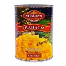Ананасы Vitaland кусочки в сиропе 580 гр ж/б