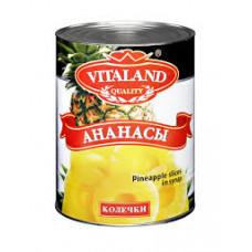 Ананасы Vitaland кольца в сиропе 580 гр ж/б