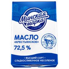 Масло Крестьянское Минская марка сладкосливочное несоленое 72,5% 180 г